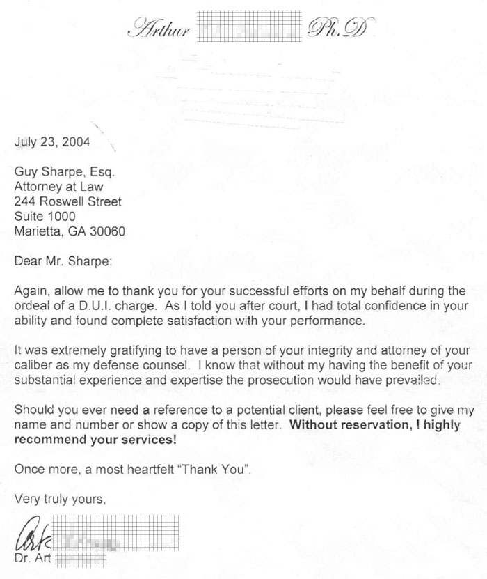 Sample Letter Explaining Dui To Employer